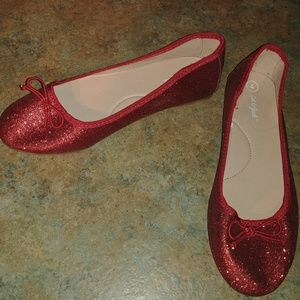 Girls Cat And Jack Red Solid Glitter Ballet Flats